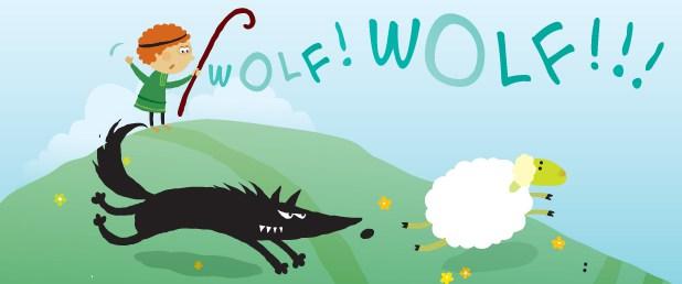 La storia di Al Lupo! Al Lupo! (Esopo) in una illustrazione colorata