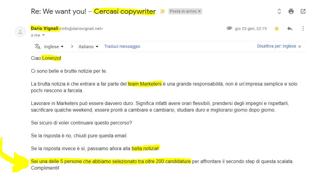Come lavorare per Dario Vignali (o quasi) creando un contenuto ad hoc: la mail di risposta